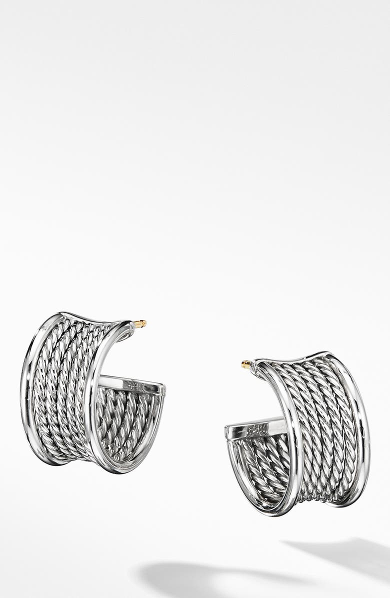 DAVID YURMAN Origami Cable Huggie Hoops, Main, color, SILVER