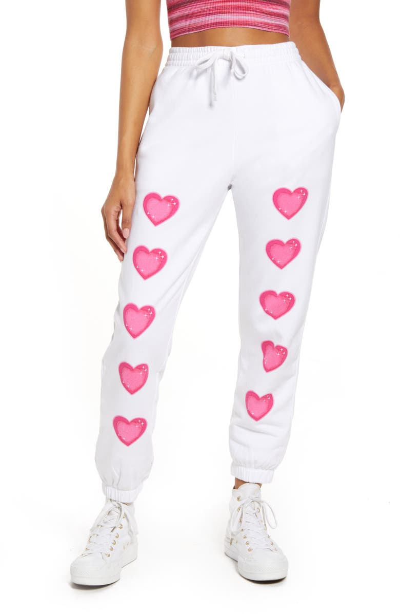 BP. Be Proud By BP. Gender Inclusive Organic Cotton Blend Joggers, Main, color, WHITE- PINK AIRBRUSH HEARTS