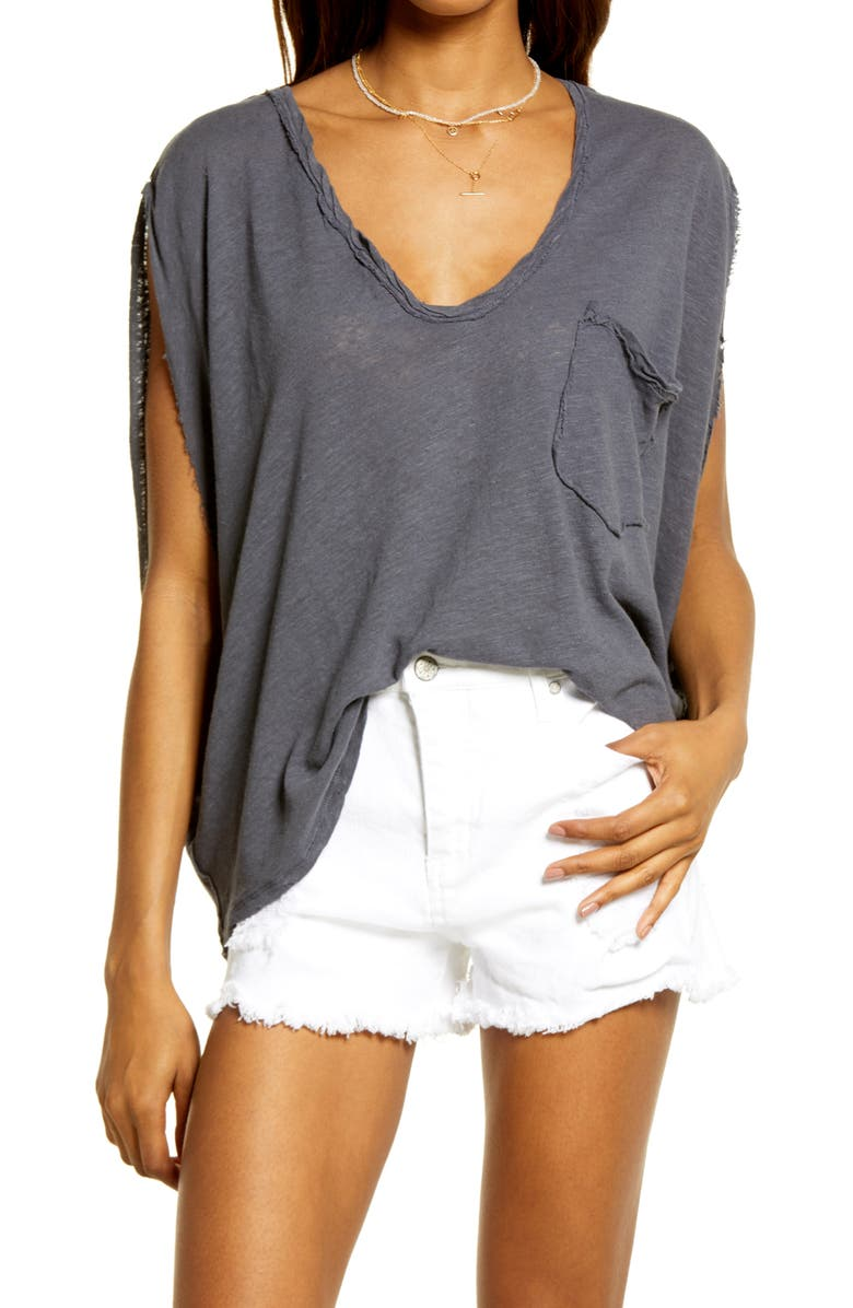 FREE PEOPLE Feelin' It Oversize T-Shirt, Main, color, CHARCOAL