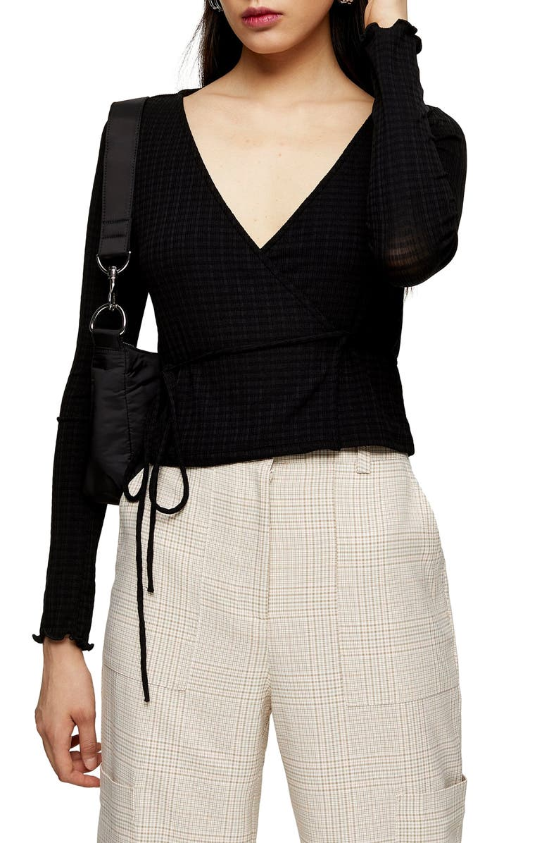TOPSHOP Textured Ballet Wrap Top, Main, color, 001