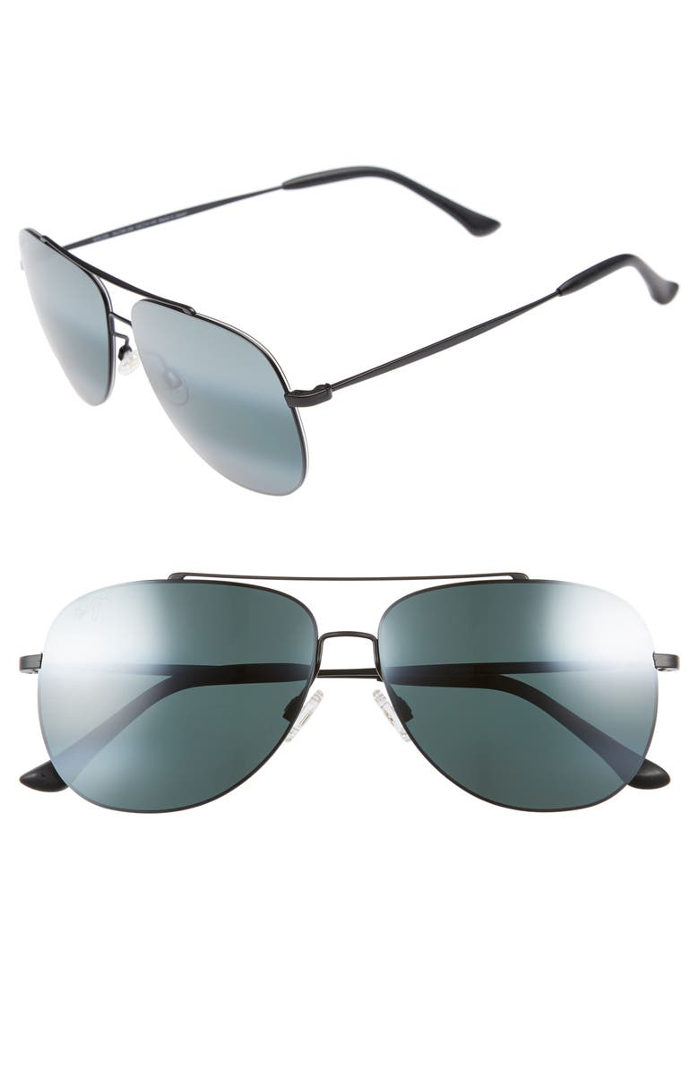 MAUI JIM Cinder Cone 58mm PolarizedPlus<sup>®</sup>2 Aviator Sunglasses, Main, color, MATTE BLACK/ NEUTRAL GREY