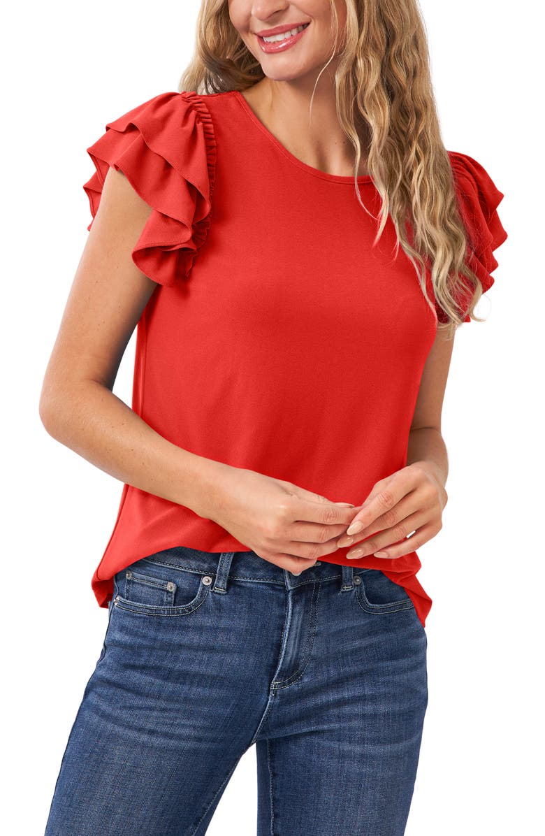 CECE Double Ruffle Knit Top, Main, color, CORAL SUNSET
