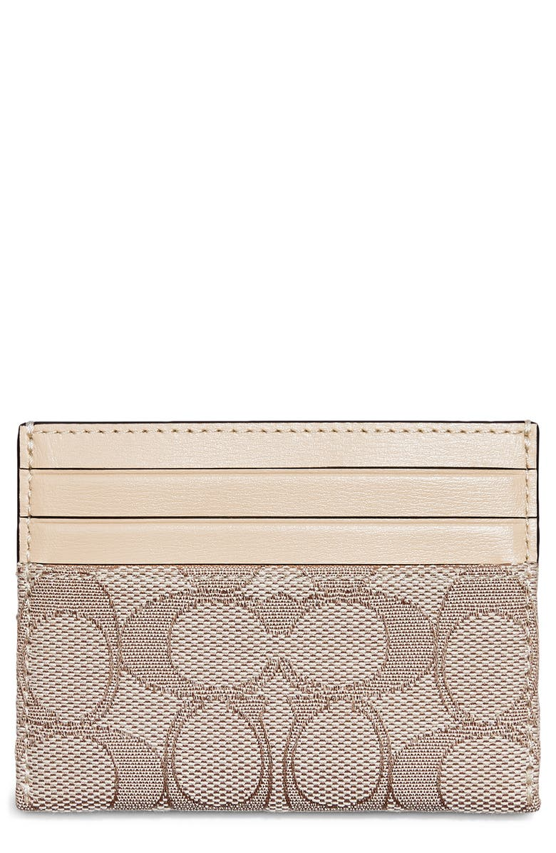 COACH Signature Jacquard Card Case, Main, color, BRASS/ STONE IVORY