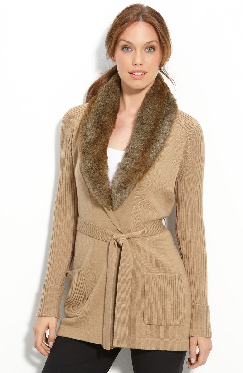 TRINA TURK 'Deville' Cardigan with Removable Faux Fur Collar, Main, color, 260