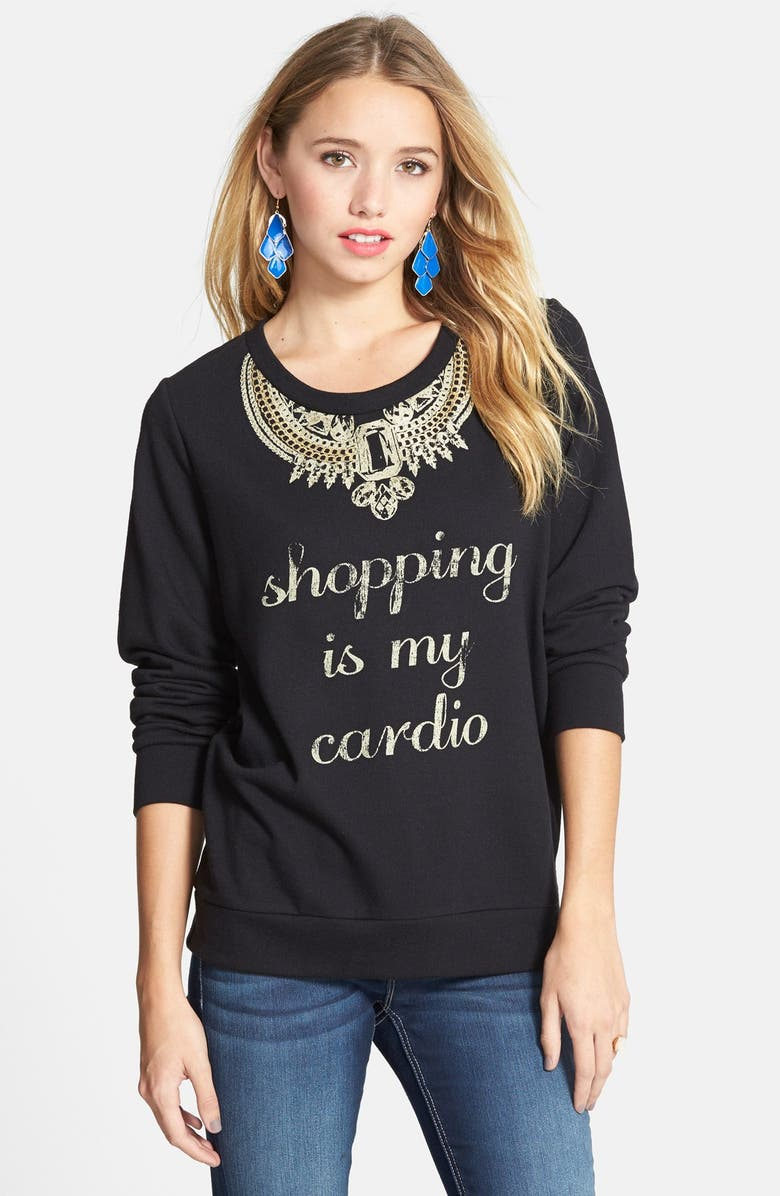 STARLING 'Shopping Is My Cardio' Graphic Sweatshirt, Main, color, Black