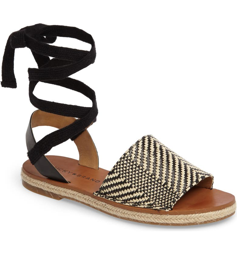 LUCKY BRAND Daytah Ankle Tie Sandal, Main, color, 002