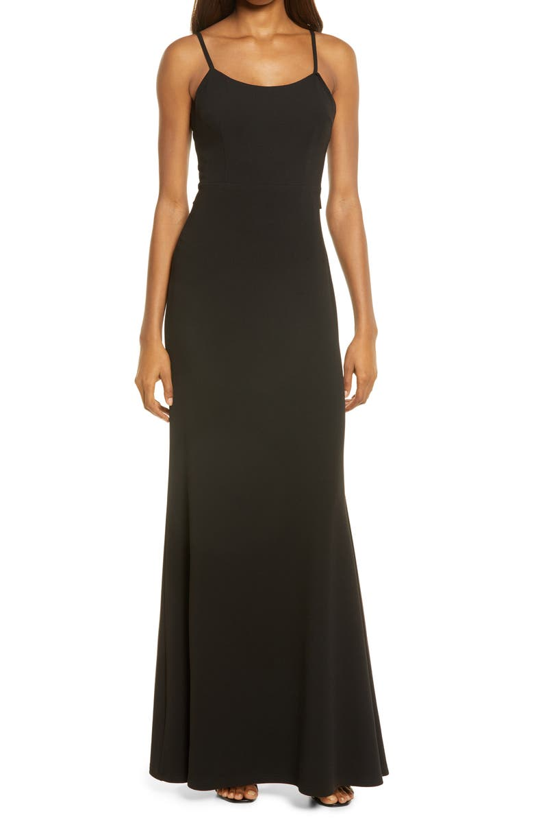 LULUS All My Loving Double Knot Jersey Trumpet Gown, Main, color, BLACK