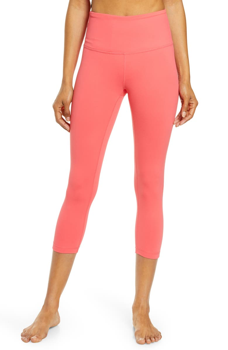 ZELLA Live In High Waist Crop Leggings, Main, color, PINK PARADISE