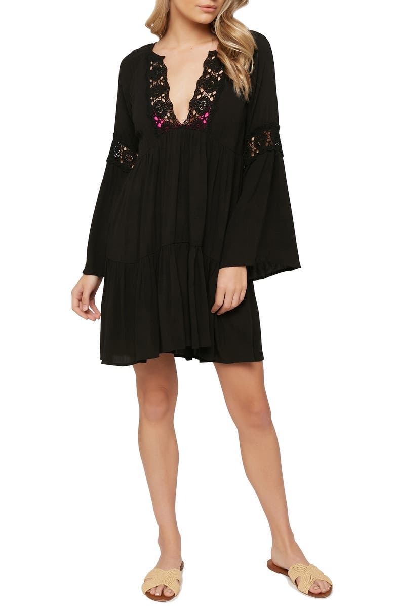 O'NEILL Saltwater Solids Long Sleeve Cover-Up Tunic Dress, Main, color, 001