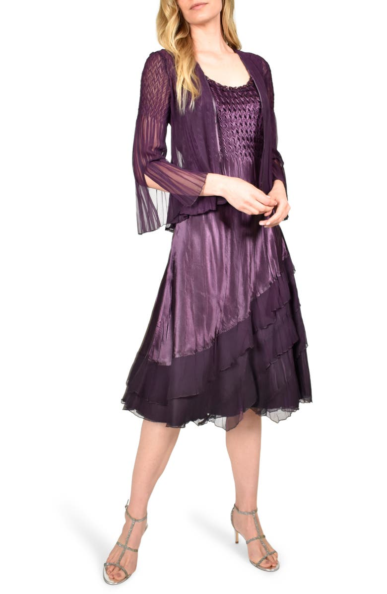 KOMAROV Ombré Tiered Hem Cocktail Dress with Chiffon Jacket, Main, color, 501