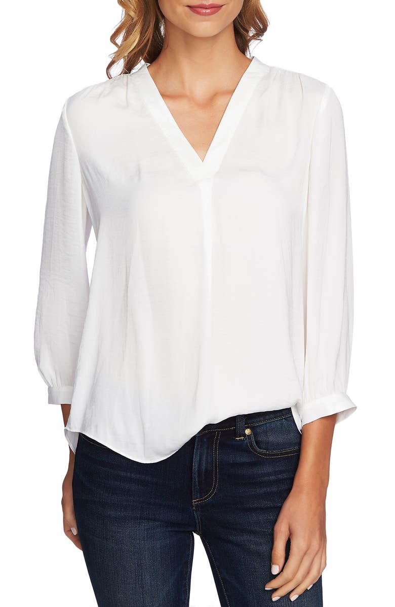 VINCE CAMUTO Rumple Fabric Blouse, Main, color, NEW IVORY