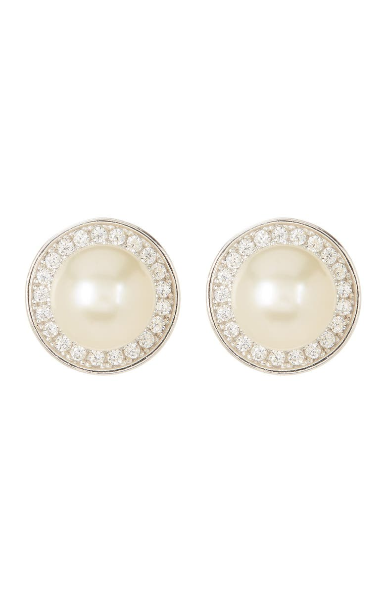 ADORNIA Sterling Silver 9mm Freshwater Pearl Swarovski Crystal Accented Halo Stud Earrings, Main, color, WHITE