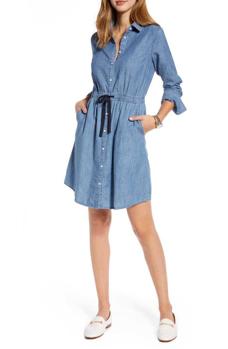1901 Long Sleeve Chambray Shirtdress, Main, color, 421