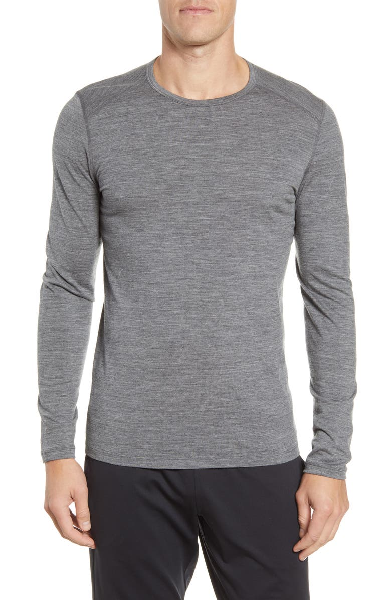 ICEBREAKER Oasis Long Sleeve Merino Wool Base Layer T-Shirt, Main, color, GRITSTONE HEATHER