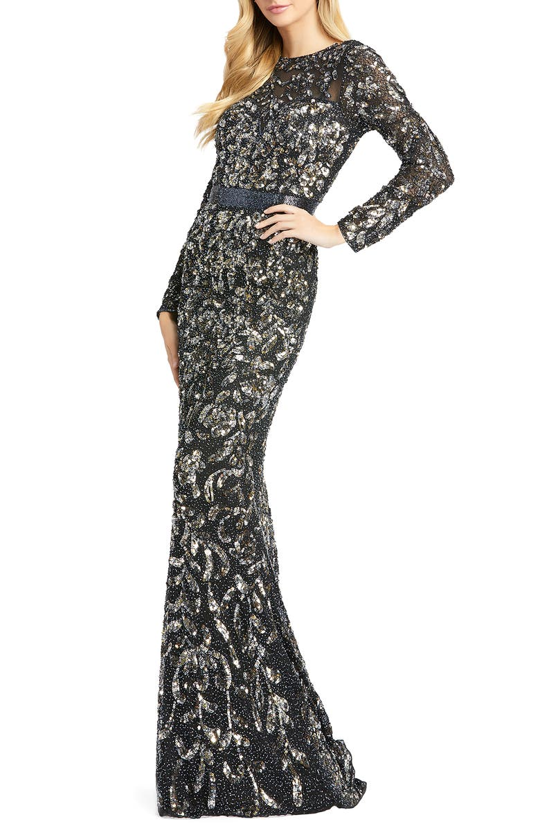 MAC DUGGAL Beaded Gown, Main, color, BLACK ANTIQUE GOLD