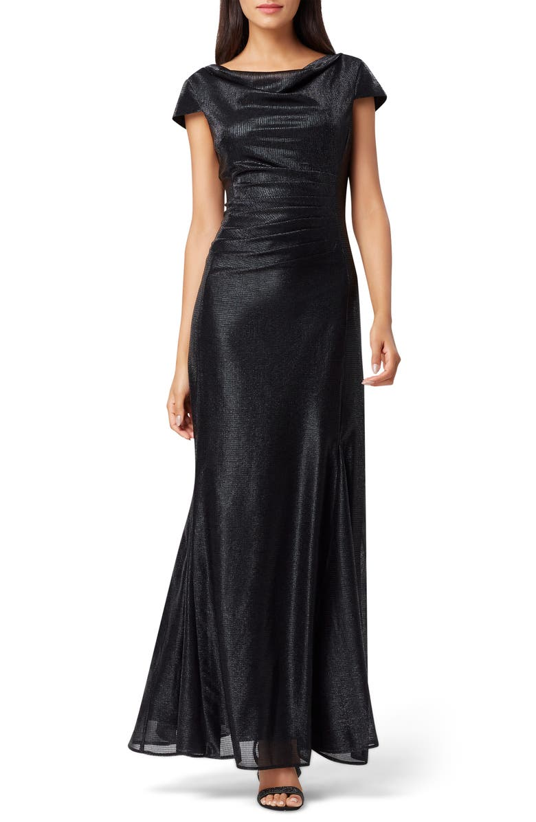 TAHARI Stretch Metallic A-Line Gown, Main, color, 001