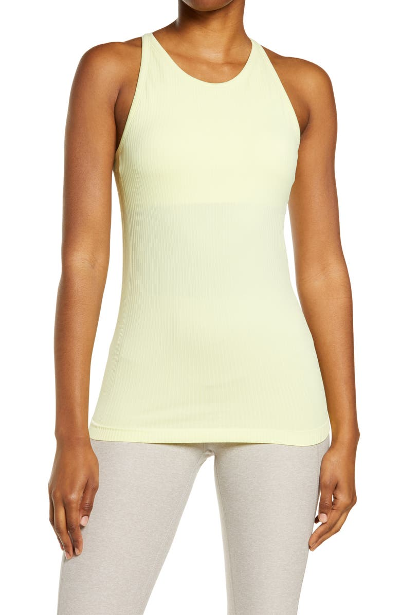 ZELLA Pure Seamless Ribbed Racerback Tank Top, Main, color, GREEN FINCH