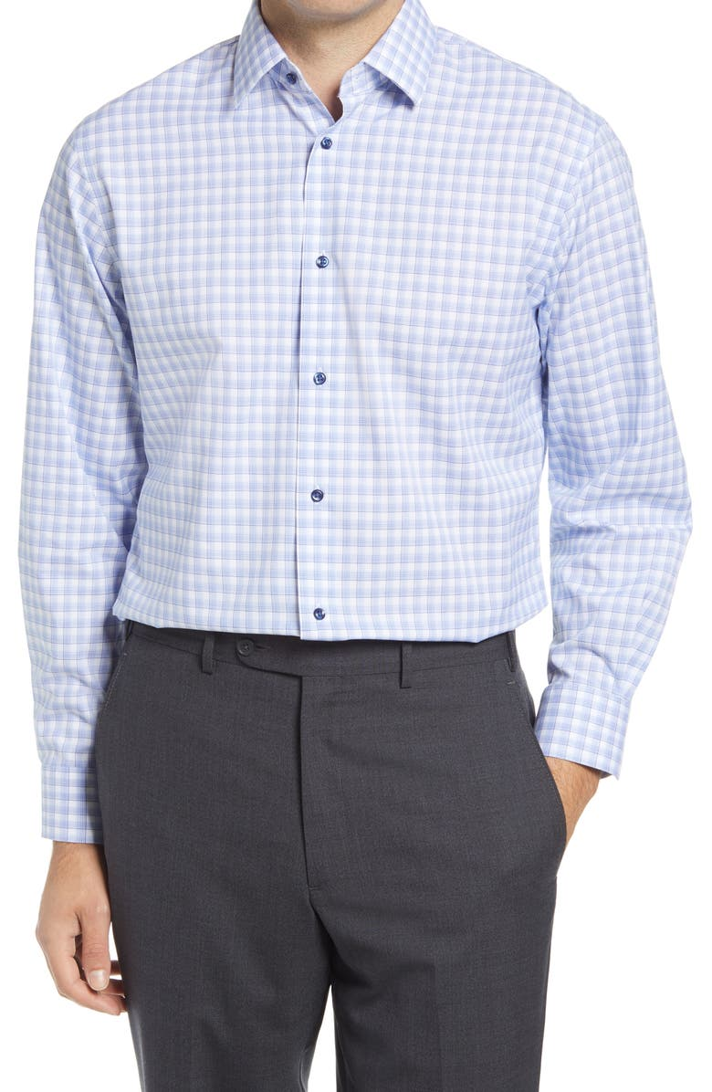 NORDSTROM Traditional Fit Plaid Stretch Non-Iron Dress Shirt, Main, color, BLUE VICTORIA