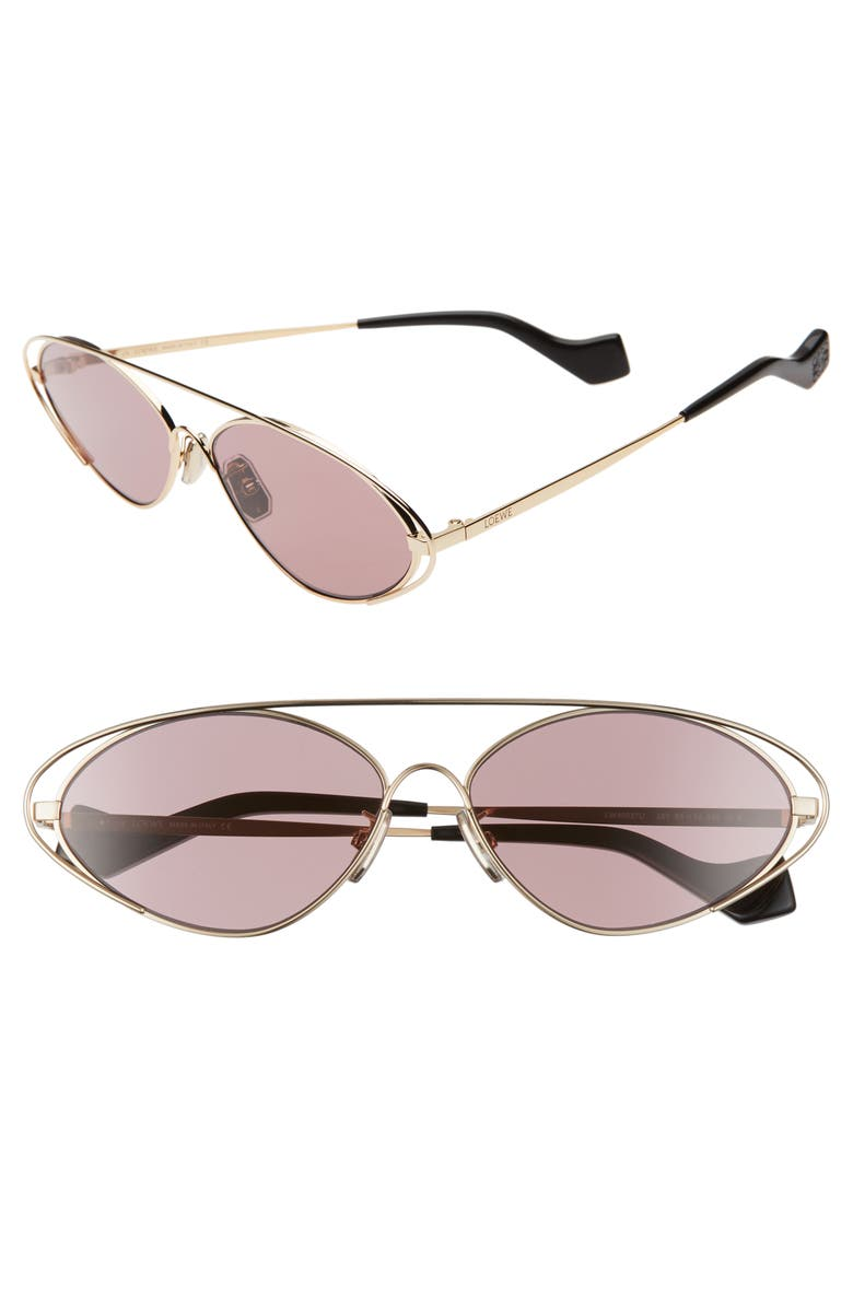 LOEWE 60mm Tinted Oval Aviator Sunglasses, Main, color, GOLD/ PINK