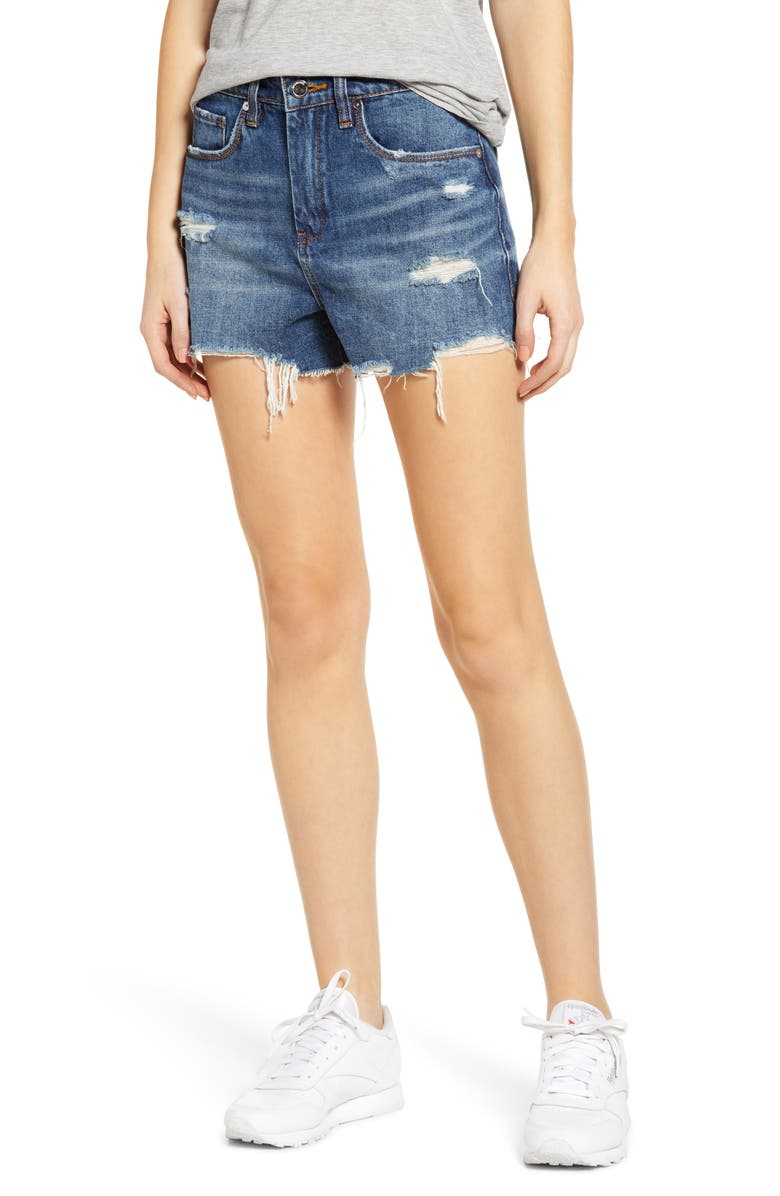 BLANKNYC The Barrow Distressed Denim Shorts, Main, color, AFTER SHOCK MED WASH
