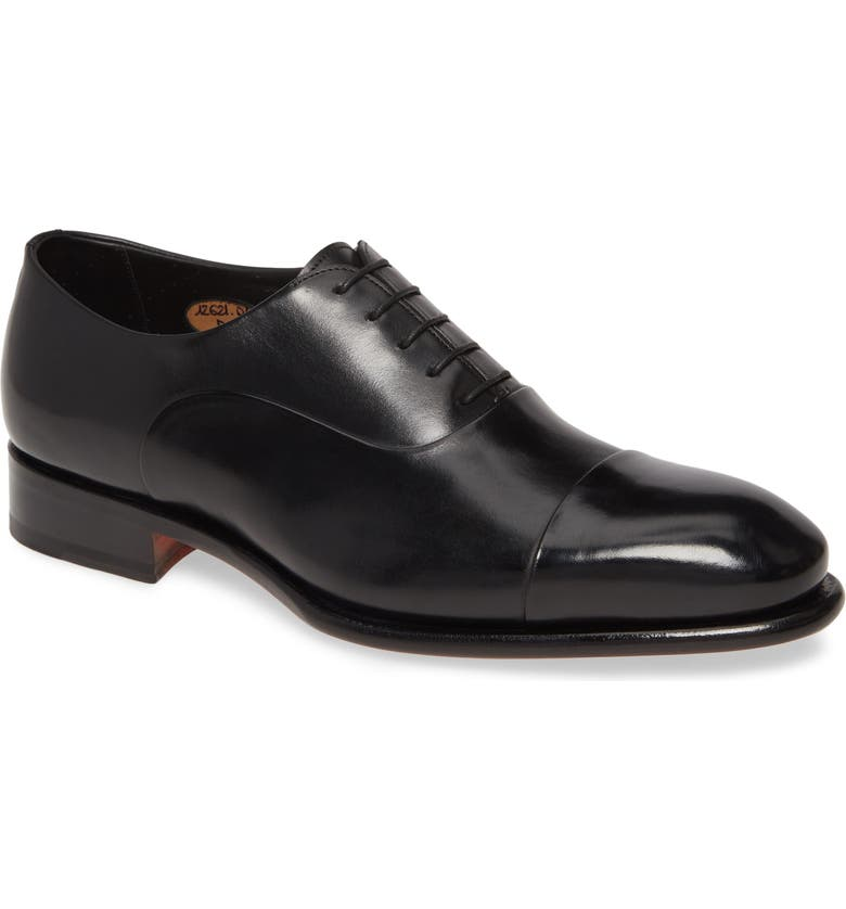 SANTONI Isaac Cap Toe Oxford, Main, color, NERO