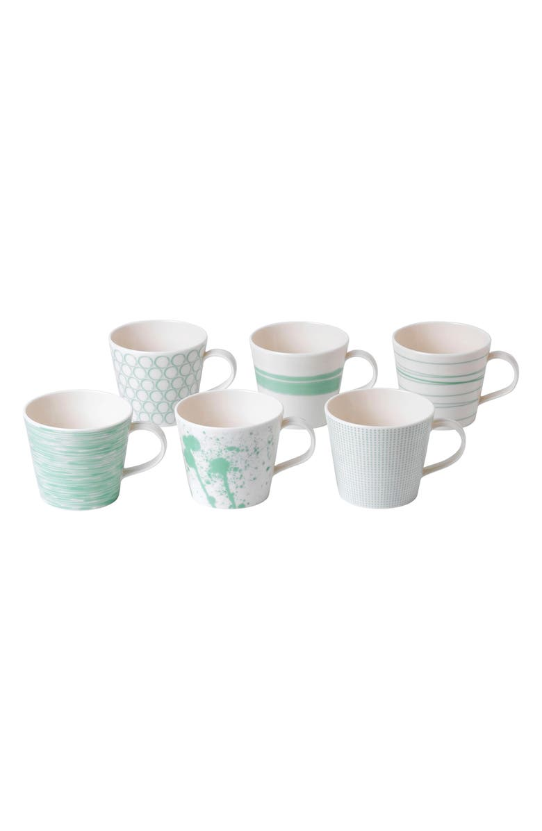 ROYAL DOULTON Pacific Mint Dots Set of 6 Mugs, Main, color, ASSORTED