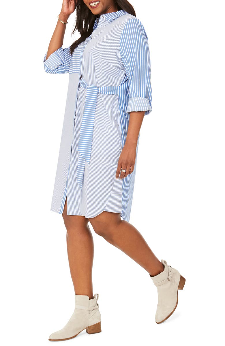 FOXCROFT Warner Mixed Stripe Shirtdress, Main, color, CLASSIC BLUE