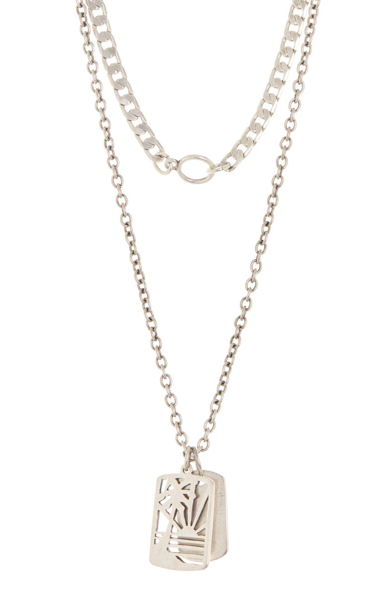 ABOUND Layered Dog Tag Vacation Necklace, Main, color, SILVER