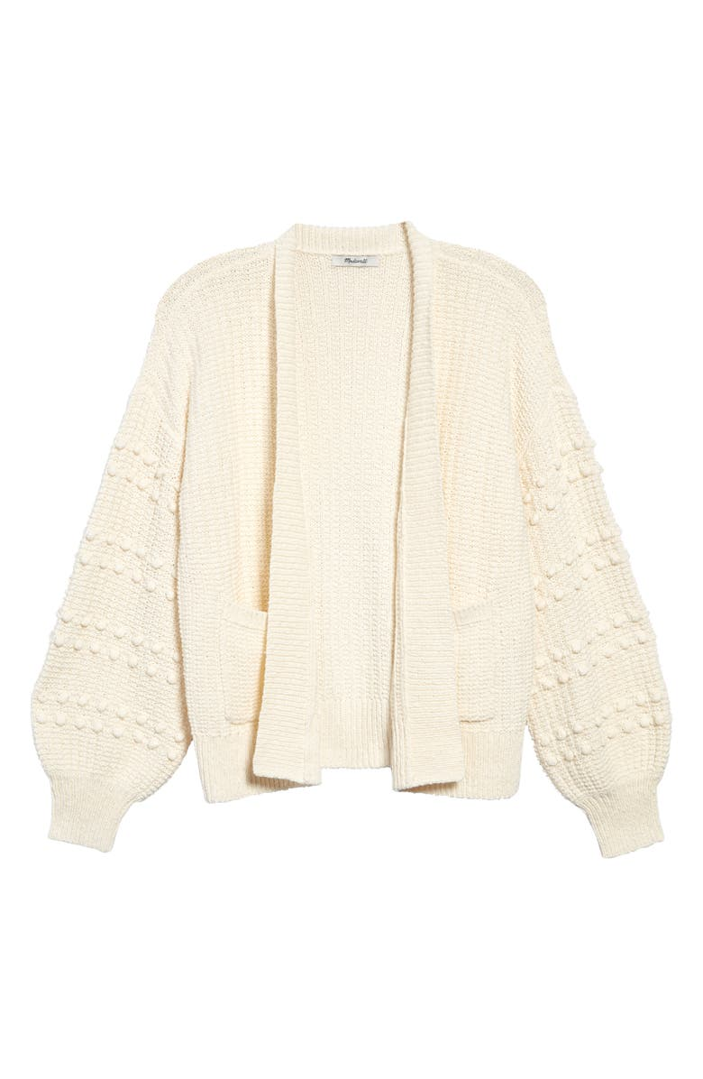 MADEWELL Bobble Cardigan Sweater, Main, color, BRIGHT IVORY