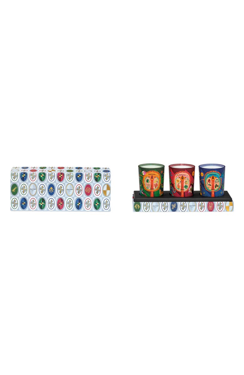 DIPTYQUE Lucky Flowers, Protective Pine & Blissful Amber Candle Set, Main, color, 000