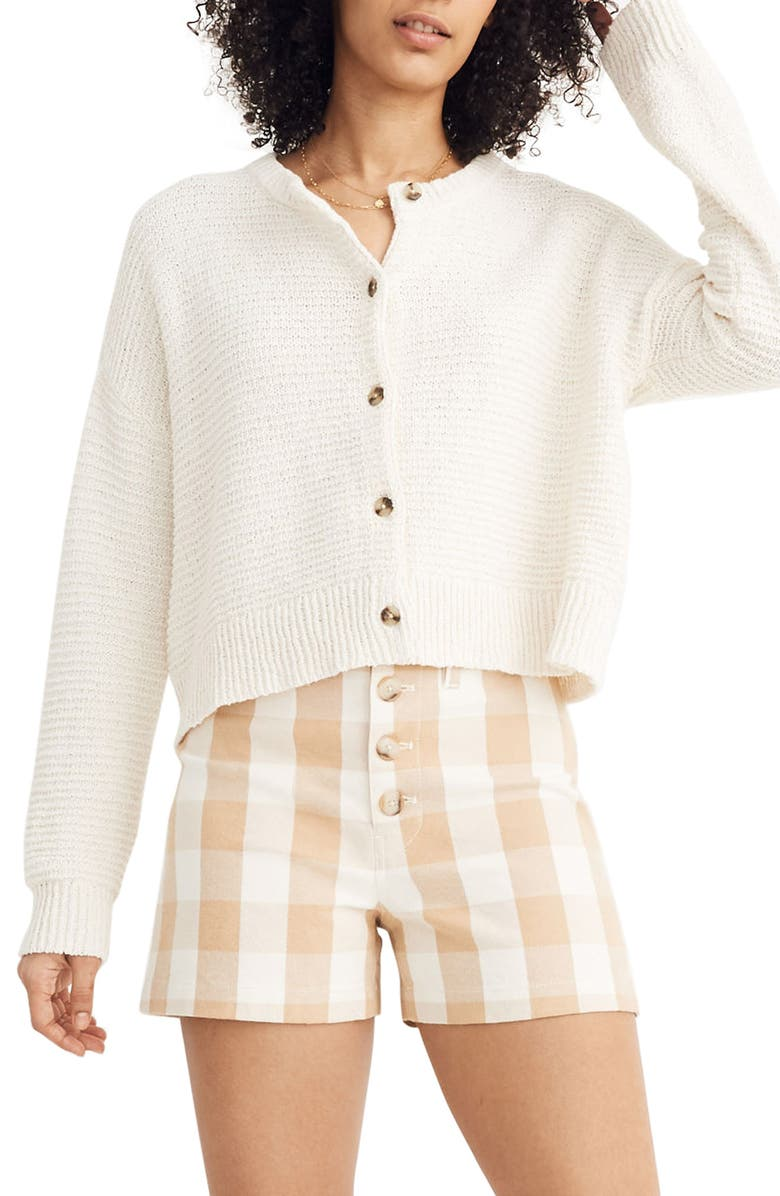 MADEWELL Deville Cardigan Sweater, Main, color, 100