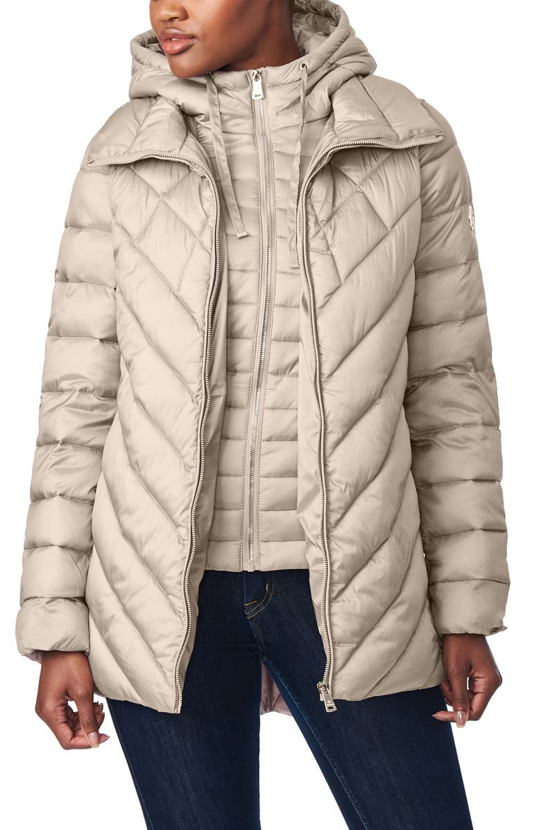 BERNARDO Asymmetrical Channel Quilted Jacket with Hooded Bib Inset, Main, color, MOCHA TAN