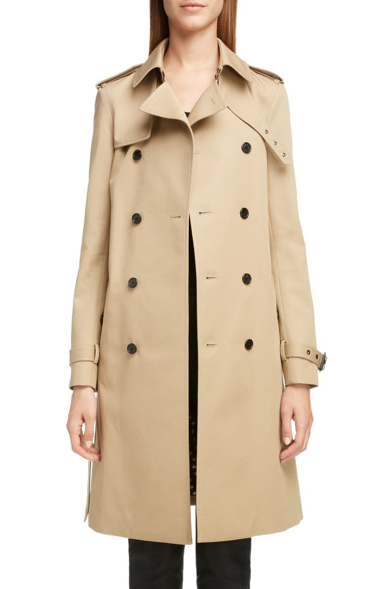 SAINT LAURENT Double Breasted Gabardine Trench Coat, Main, color, SABLE