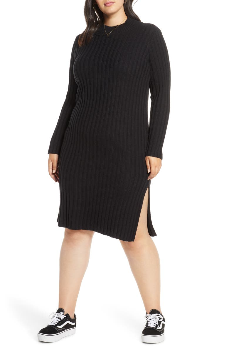 BP. Ribbed Long Sleeve Sweater Dress, Main, color, 001