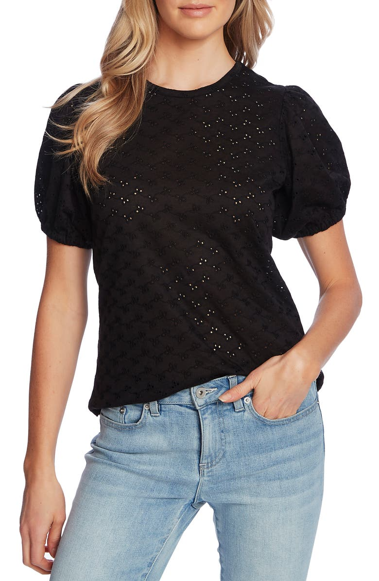 CECE Puff Sleeve Eyelet Top, Main, color, 001