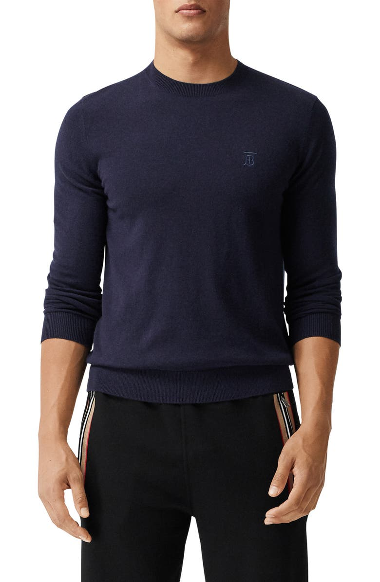 BURBERRY Bancroft TB Monogram Embroidered Cashmere Sweater, Main, color, NAVY
