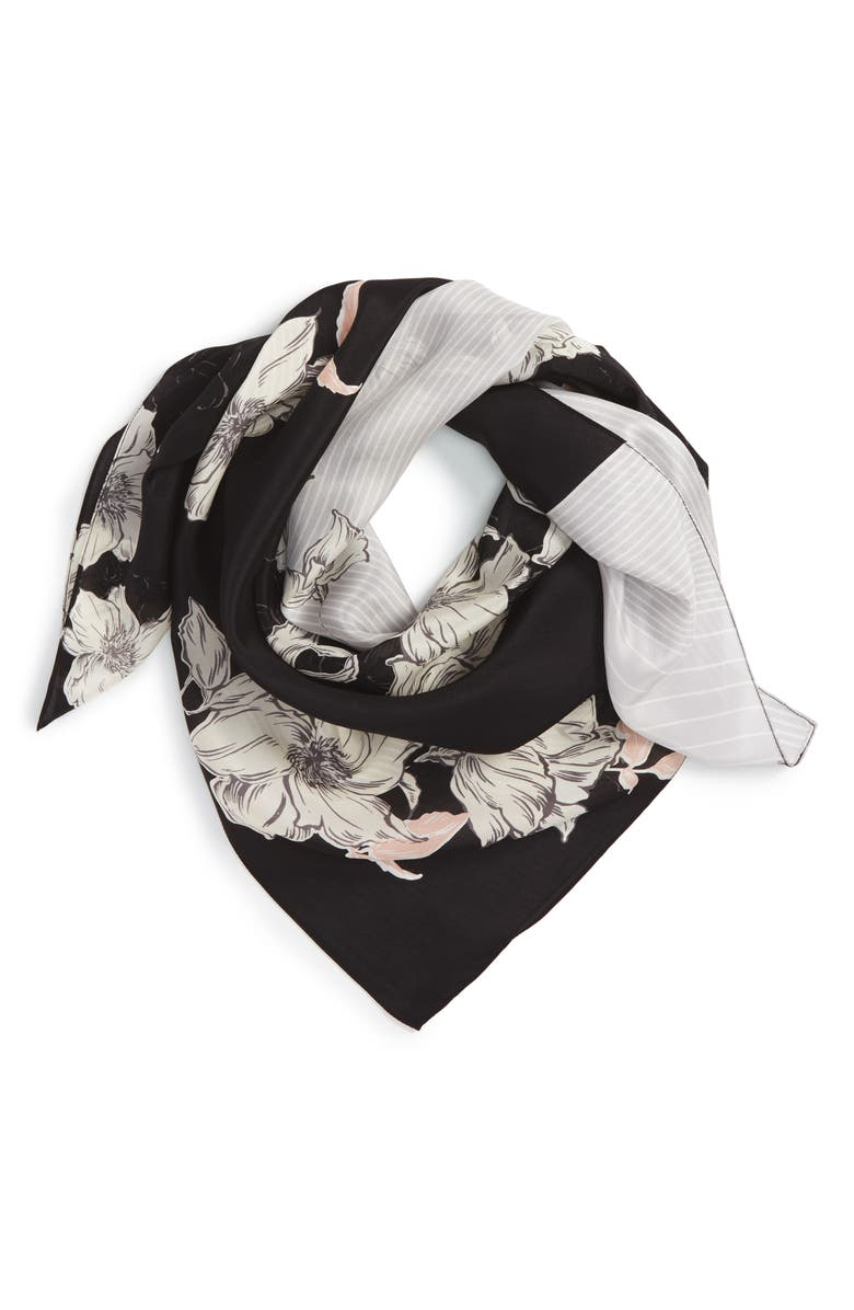 HALOGEN<SUP>®</SUP> Metro Floral Square Silk Scarf, Main, color, 001