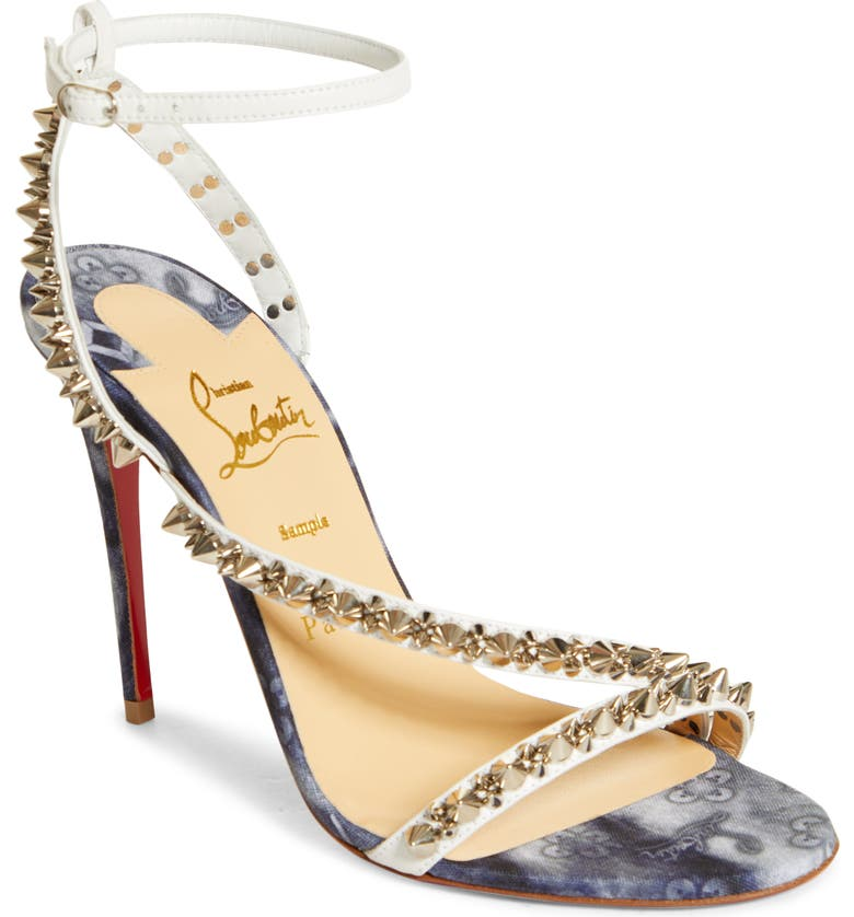 CHRISTIAN LOUBOUTIN Mafaldina Spikes Sandal, Main, color, VERSION MULIGHTI/ SILVER