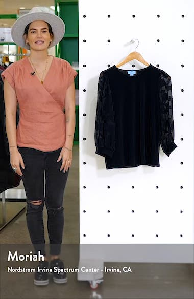 Lace Sleeve Stretch Crepe Blouse, sales video thumbnail