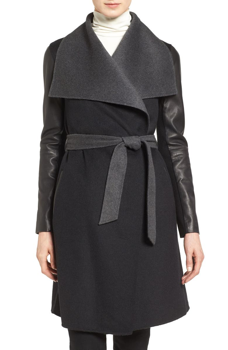 MACKAGE Leather Sleeve Wool Blend Wrap Coat, Main, color, BLACK/ CHARCOAL