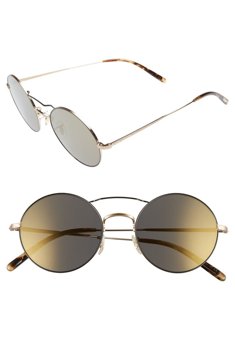 OLIVER PEOPLES Nickol 53mm Round Sunglasses, Main, color, 001