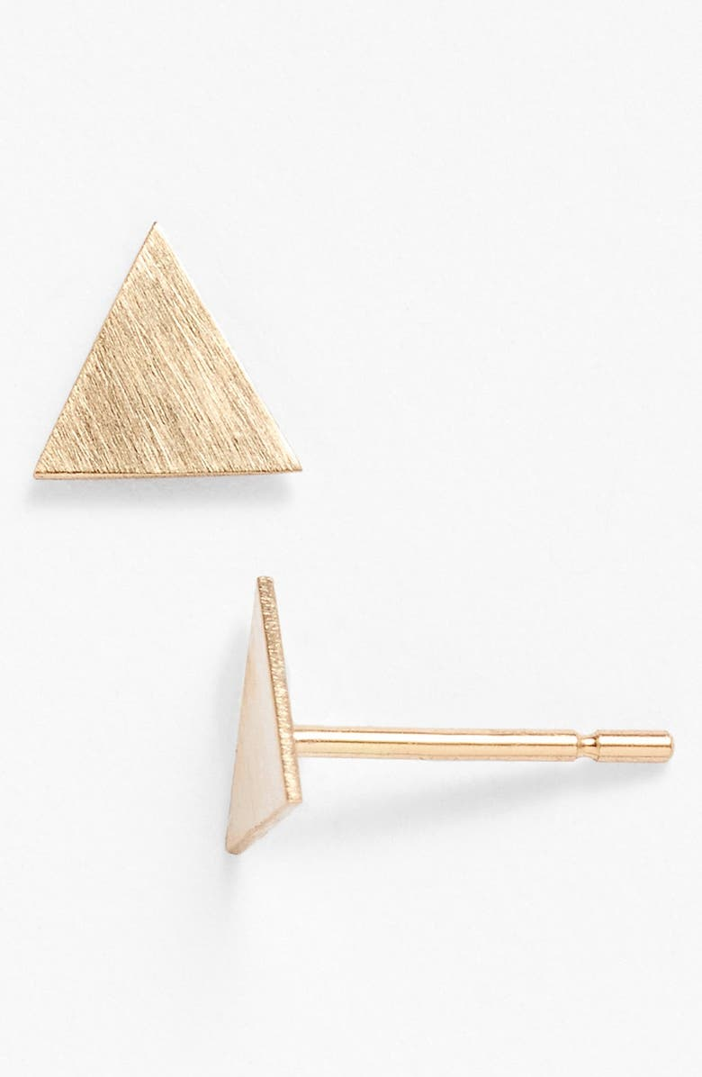 MELISSA JOY MANNING Triangle Stud Earrings, Main, color, YELLOW GOLD