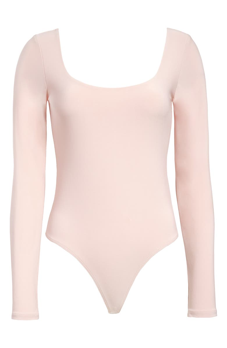 LEITH Double Scoop Long Sleeve Thong Bodysuit, Main, color, PINK SMOKE