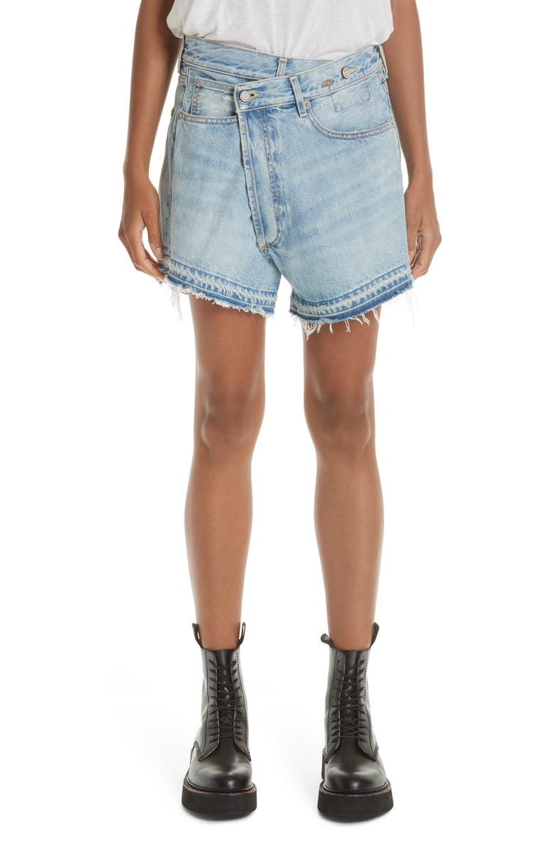 R13 Crossover Denim Shorts, Main, color, TILLY WITH LET