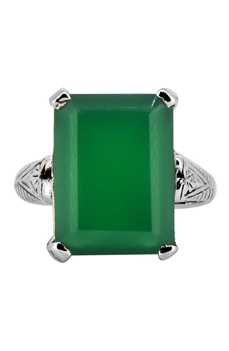 NITYA Green Onyx Intricate Band Sterling Silver Ring, Main, color, GREEN