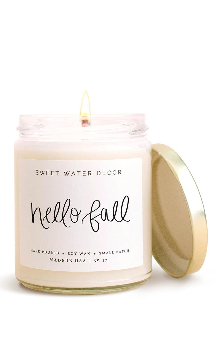 SWEET WATER DECOR Hello Fall 9 oz. Soy Candle - Set of 2, Main, color, WHITE