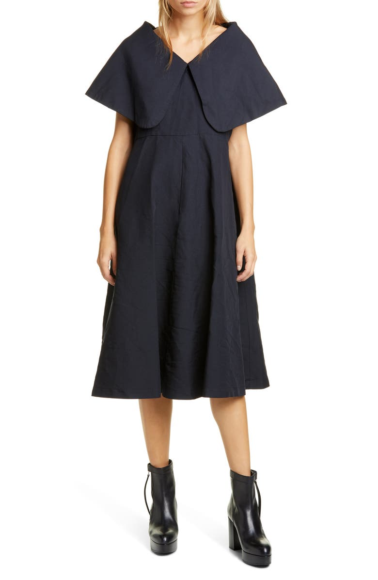 COMME DES GARÇONS Exaggerated Pilgrim Collar Midi Dress, Main, color, 400
