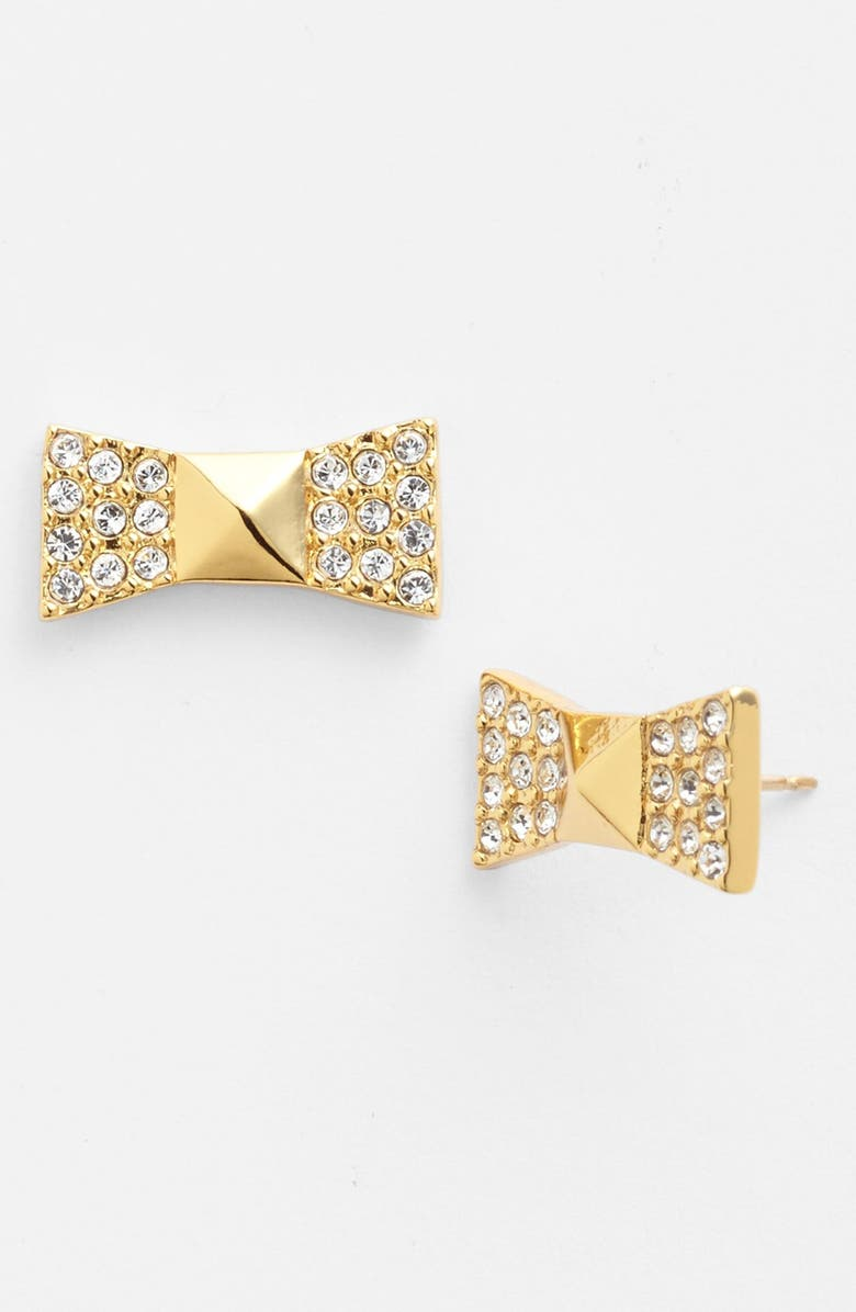 KATE SPADE NEW YORK 'locked in' pavé bow stud earrings, Main, color, CLEAR/ GOLD