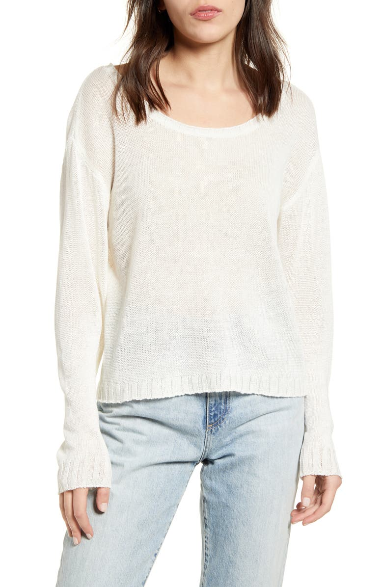 FAHERTY Reenie Linen Sweater, Main, color, 100