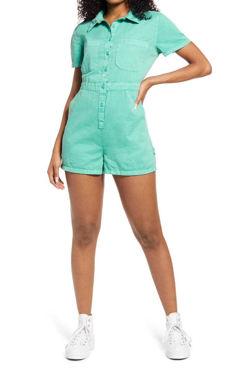 BP. Utility Button Front Romper, Main, color, GREEN MARINE